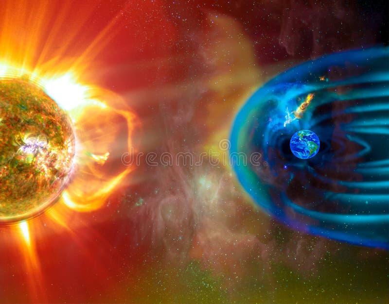Le temps de l'espace de connexion de la Sun-terre images libres de droits