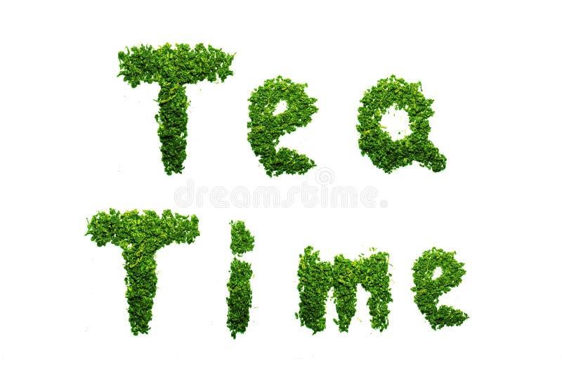 Le TEMPS de THÉ d'isolement de mots a défini avec la feuille de thé sur le fond blanc (l'effet de gradient) photos libres de droits