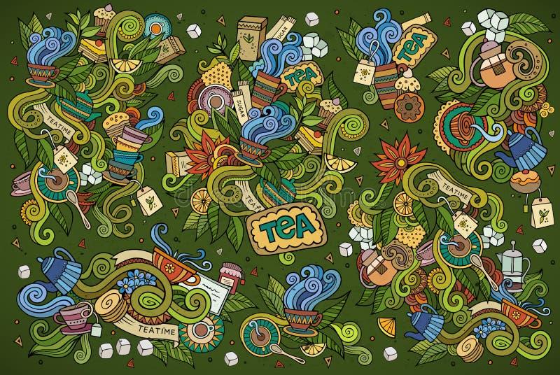 Le temps de thé gribouille des symboles peu précis tirés par la main de vecteur illustration libre de droits