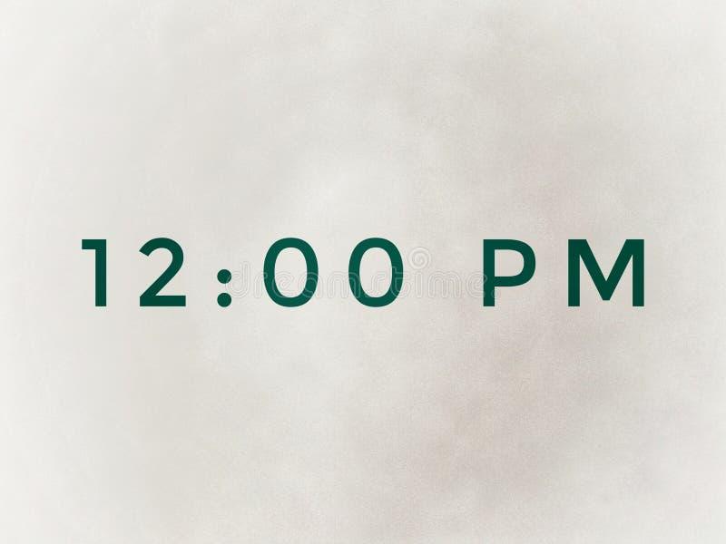 Le temps est 0h00 du matin dans la couleur verte illustration libre de droits