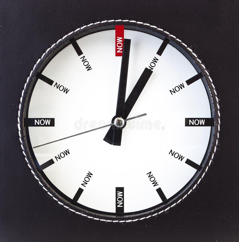 Le temps est maintenant - horloge image libre de droits