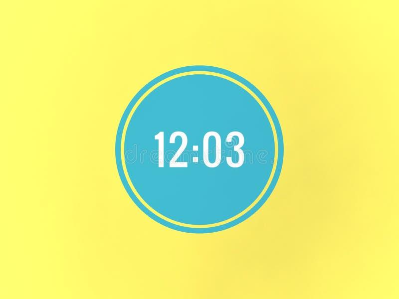 Le temps est 12 o trois en cercle bleu illustration de vecteur