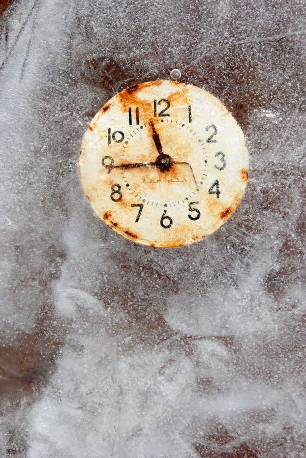 Le temps est symbole à court terme en glace photographie stock libre de droits
