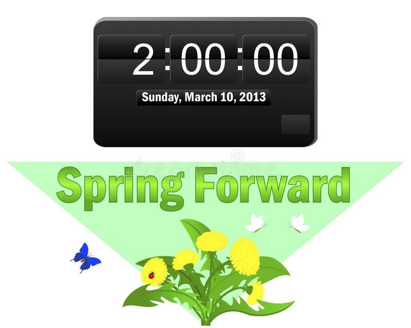 Le temps heure d'été commence. 10 mars 2013. illustration de vecteur