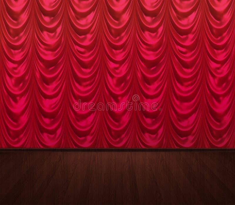 Le tende rosse svuotano la fase fotografia stock