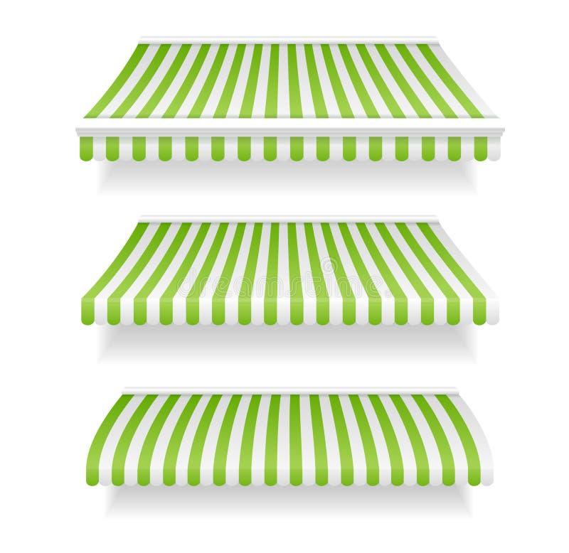 Le tende variopinte per il negozio hanno fissato il verde Vettore illustrazione di stock