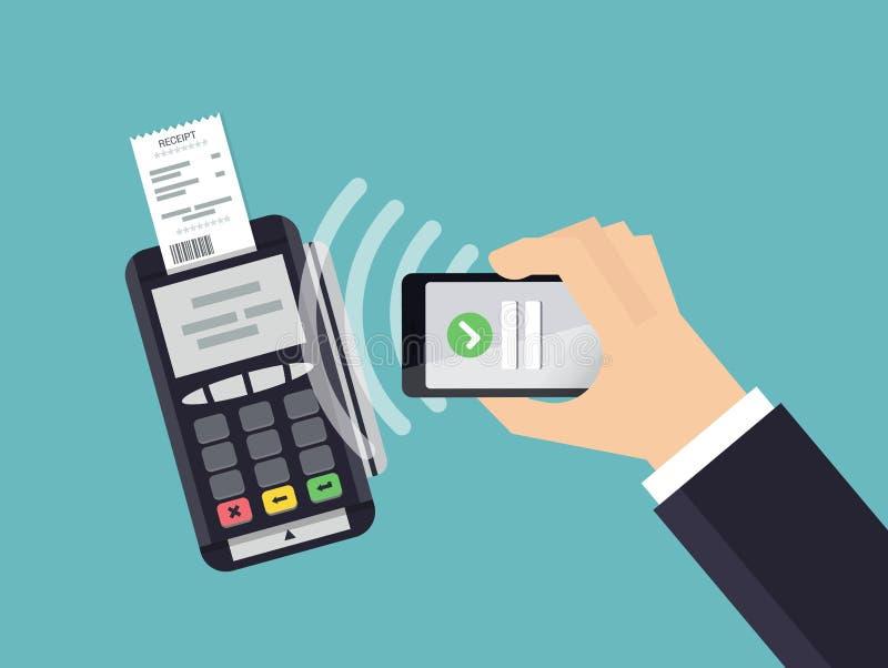 Le terminal de position confirme le paiement du smartphone Paiement et concept mobiles de technologie de NFC Illustration plate d illustration stock