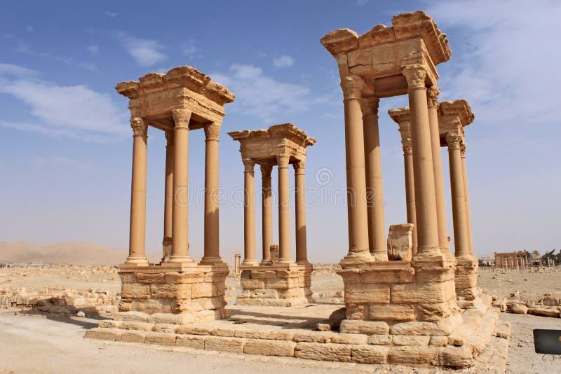 Le Tetrapylon Ruines de la ville antique du Palmyra peu avant la guerre, 2011 photo stock