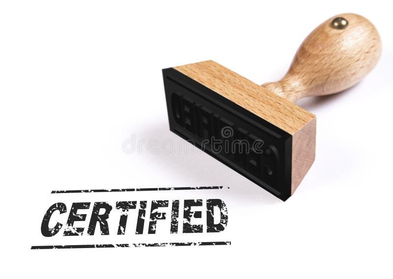 """Le texte """"certifié """"a embouti sur la feuille de papier blanche photos stock"""