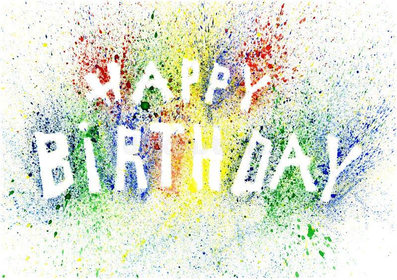 Le texte coloré de joyeux anniversaire fait de éclabousse illustration de vecteur