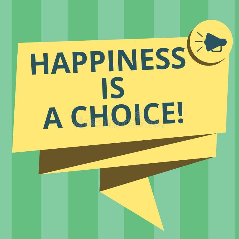 Le texte d'écriture écrivant le bonheur est un choix Gai heureux de séjour de signification de concept tout le temps inspiré moti illustration de vecteur