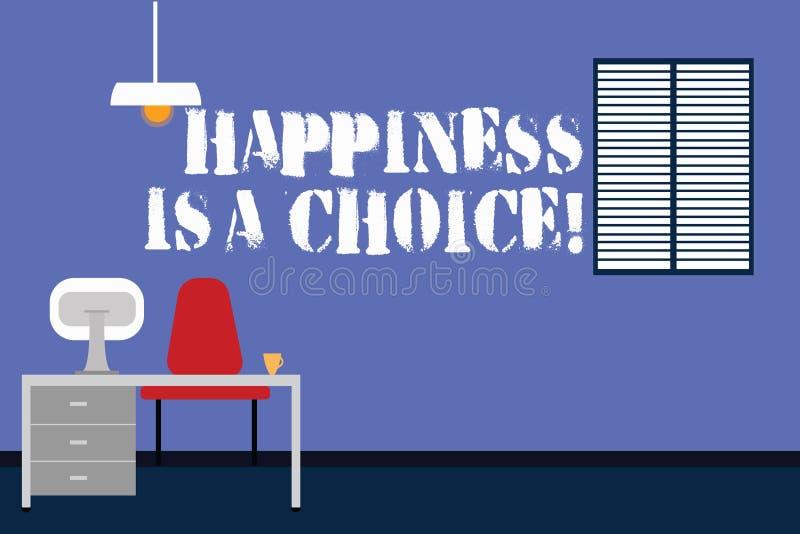 Le texte d'écriture écrivant le bonheur est un choix Travail motivé inspiré gai heureux de séjour de signification de concept tou illustration de vecteur