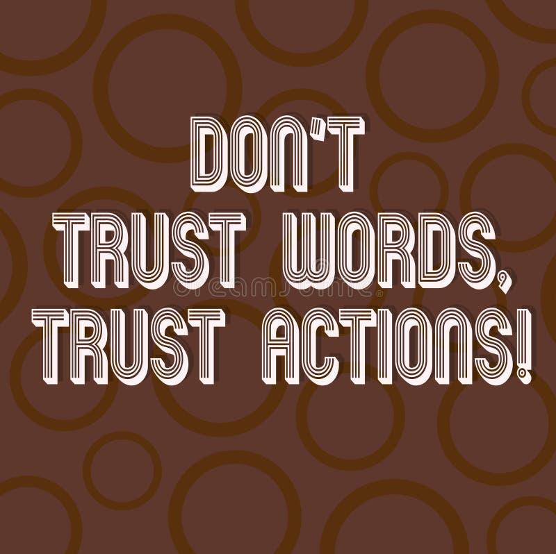 Le texte d'écriture écrivant des mots de confiance de Don T font confiance à des actions Signification de concept moins parler pl illustration stock