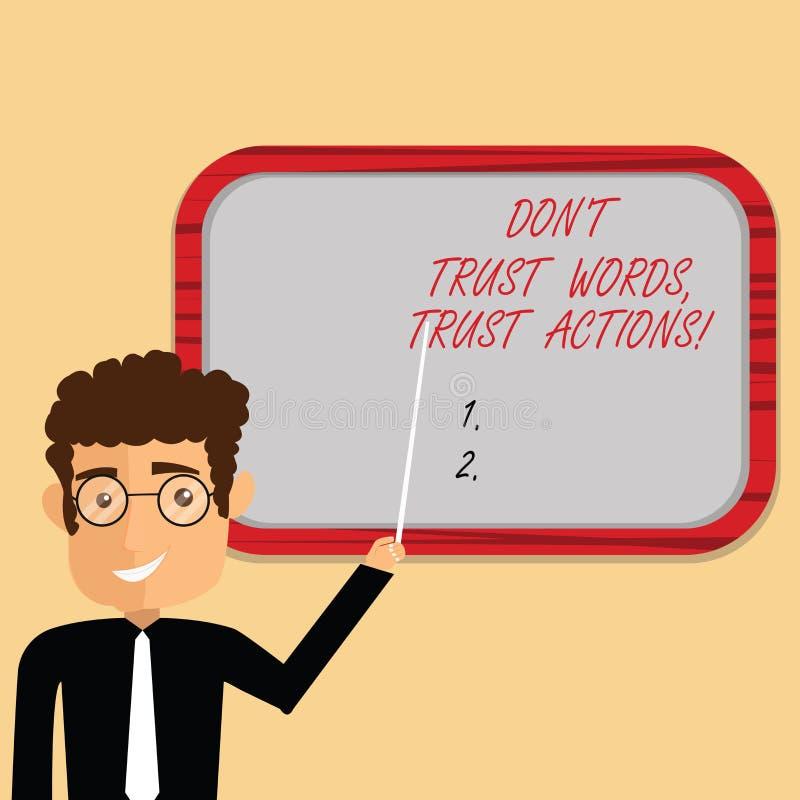 Le texte d'écriture écrivant des mots de confiance de Don T font confiance à des actions Signification de concept moins parler pl illustration libre de droits