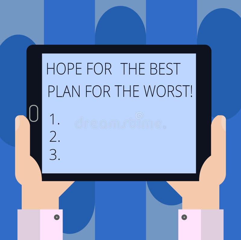 Le texte d'écriture écrivant l'espoir pour le meilleur plan pour la plus mauvaise signification de concept rendent des plans pour illustration stock