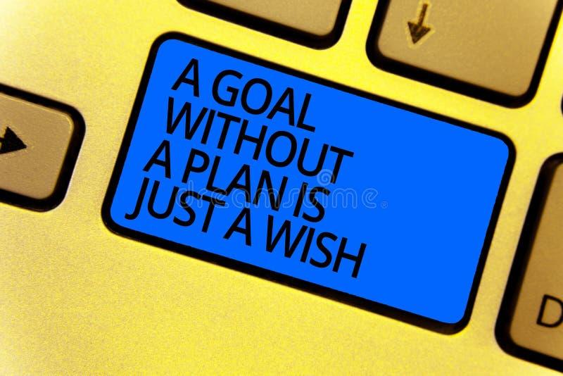 Le texte d'écriture écrivant un but sans plan est juste un souhait La signification de concept font des stratégies pour atteindre photos libres de droits