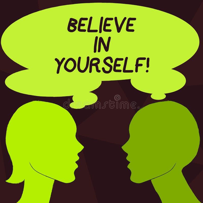 Le texte d'écriture croient en vous-même Concept signifiant la croyance de foi de confiance de courage de positivité de détermina illustration de vecteur