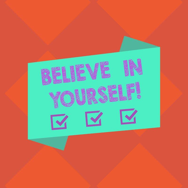 Le texte d'écriture croient en vous-même Signification de concept ayant la confiance dans vos capacités en faisant la couleur vid illustration stock