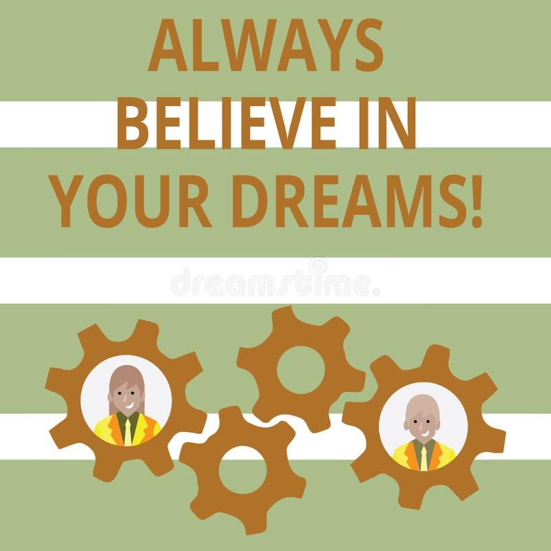 Le texte d'écriture croient toujours en vos rêves Concept signifiant la foi de confiance croyant en vous-même illustration de vecteur