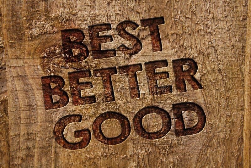 Le texte d'écriture de Word améliorent mieux bon Le concept d'affaires pour s'améliorent choisissant la meilleure bannière décisi images libres de droits
