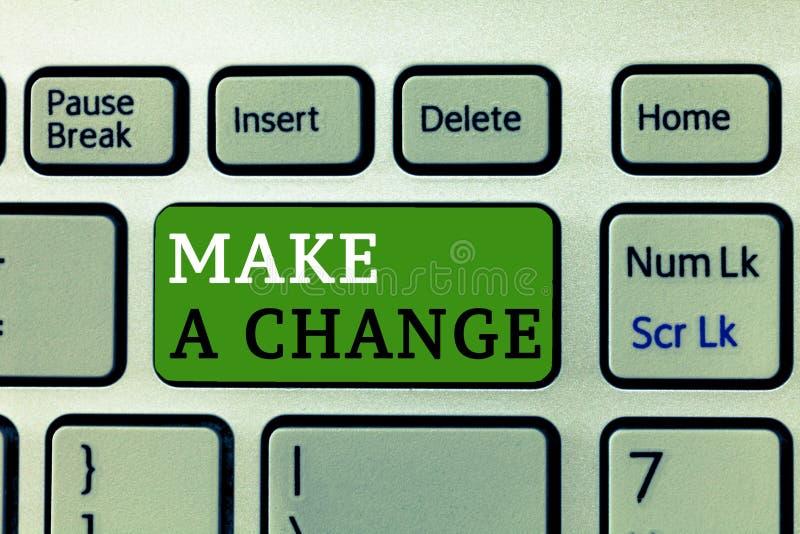 Le texte d'écriture de Word apportent une modification Le concept d'affaires pour Create un changement de différence font métamor image stock