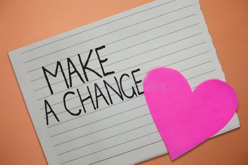 Le texte d'écriture de Word apportent une modification Le concept d'affaires pour Create un changement de différence font métamor images stock