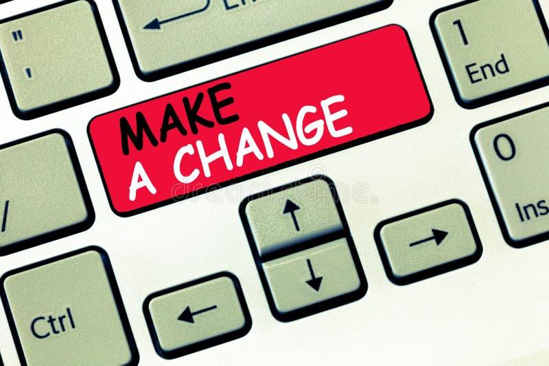 Le texte d'écriture de Word apportent une modification Le concept d'affaires pour Create un changement de différence font métamor photo stock