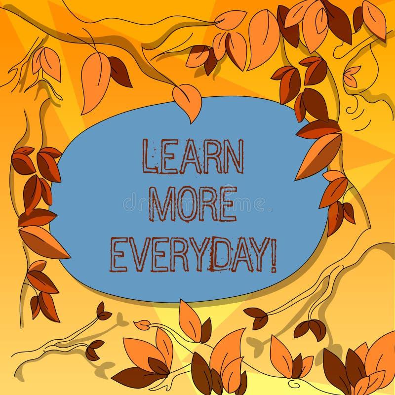 Le texte d'écriture de Word apprennent plus quotidien Concept d'affaires pour obtenir la connaissance dans l'arbre différent de s illustration libre de droits