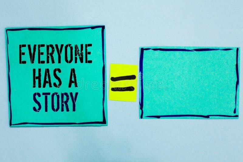 Le texte d'écriture de Word chacun a une histoire Le concept d'affaires pour la fabulation de fond indiquant votre noir de contes images stock