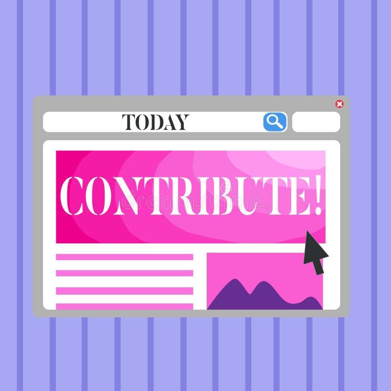 Le texte d'écriture de Word contribuent Concept d'affaires pour la décision Teamworking de stratégie pour le but réussi commun d' illustration stock