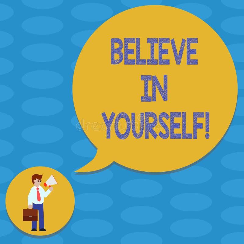 Le texte d'écriture de Word croient en vous-même Le concept d'affaires pour avoir la confiance dans vos capacités en faisant des  illustration libre de droits