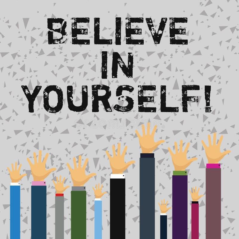 Le texte d'écriture de Word croient en vous-même Concept d'affaires pour la croyance de foi de confiance de courage de positivité illustration de vecteur