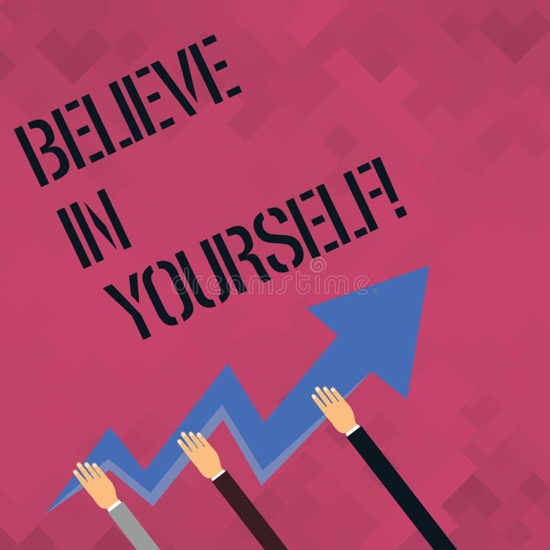 Le texte d'écriture de Word croient en vous-même Concept d'affaires pour la croyance de foi de confiance de courage de positivité illustration stock