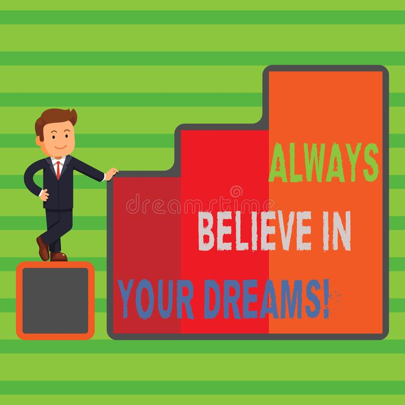 Le texte d'écriture de Word croient toujours en vos rêves Concept d'affaires pour la foi de confiance croyant en vous-même illustration libre de droits