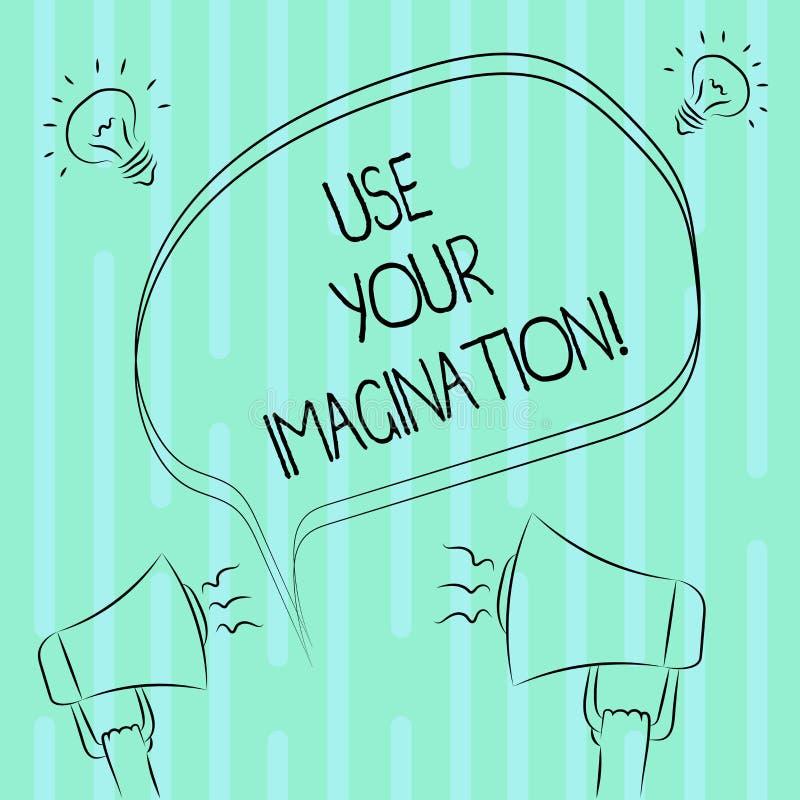 Le texte d'écriture de Word emploient votre imagination Concept d'affaires pour l'usage de la capacité de former les images menta illustration de vecteur
