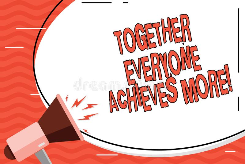 Le texte d'écriture de Word ensemble chacun réalise plus Concept d'affaires pour la coopération de travail d'équipe atteindre pou illustration libre de droits