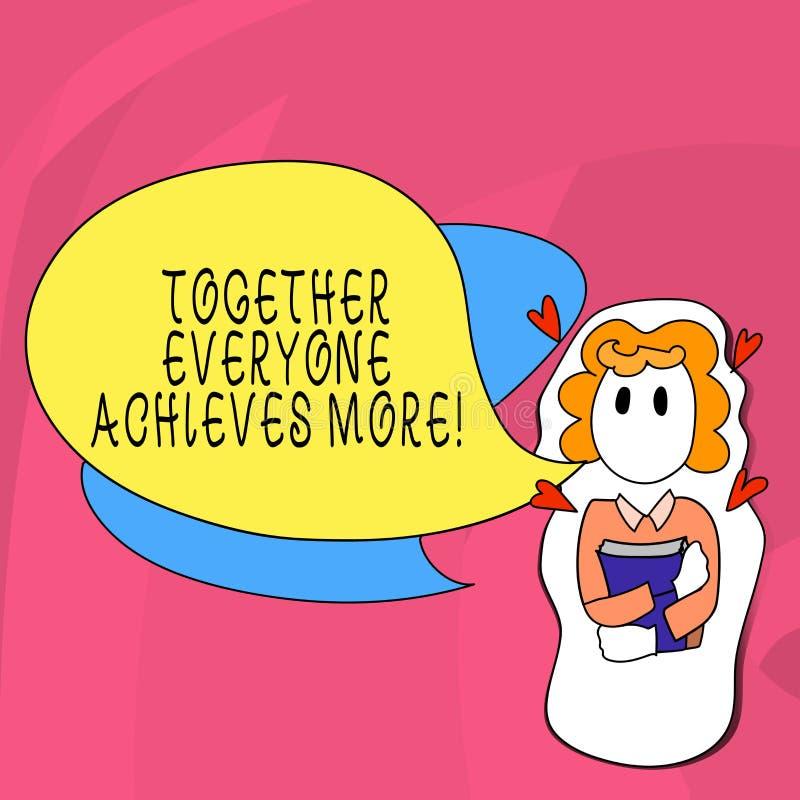 Le texte d'écriture de Word ensemble chacun réalise plus Concept d'affaires pour la coopération de travail d'équipe atteindre pou illustration de vecteur