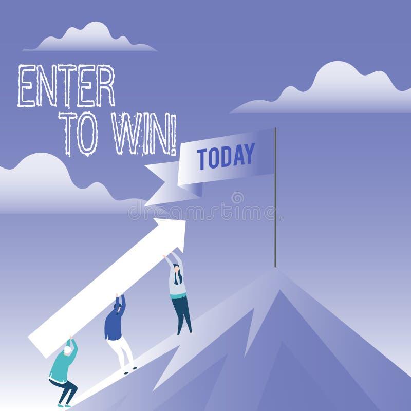 Le texte d'écriture de Word entrent pour gagner Concept d'affaires pour le prix de récompense de récompense donné pour visiter un illustration libre de droits