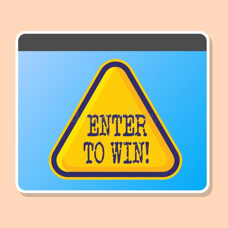 Le texte d'écriture de Word entrent pour gagner Concept d'affaires pour le prix de récompense de récompense donné pour visiter un illustration stock