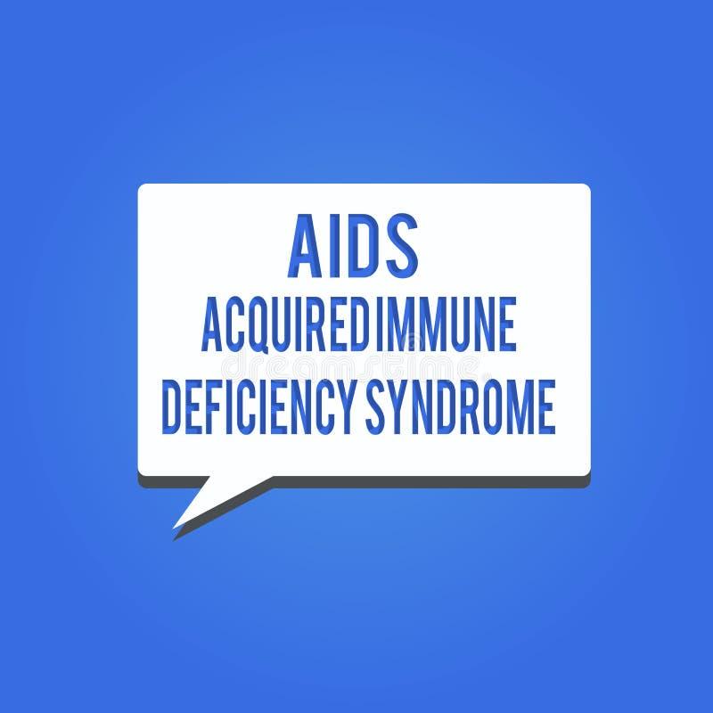 Le texte d'écriture de Word facilite le syndrome d'immunodéficience acquise Concept d'affaires pour l'étape sérieuse de la maladi illustration stock