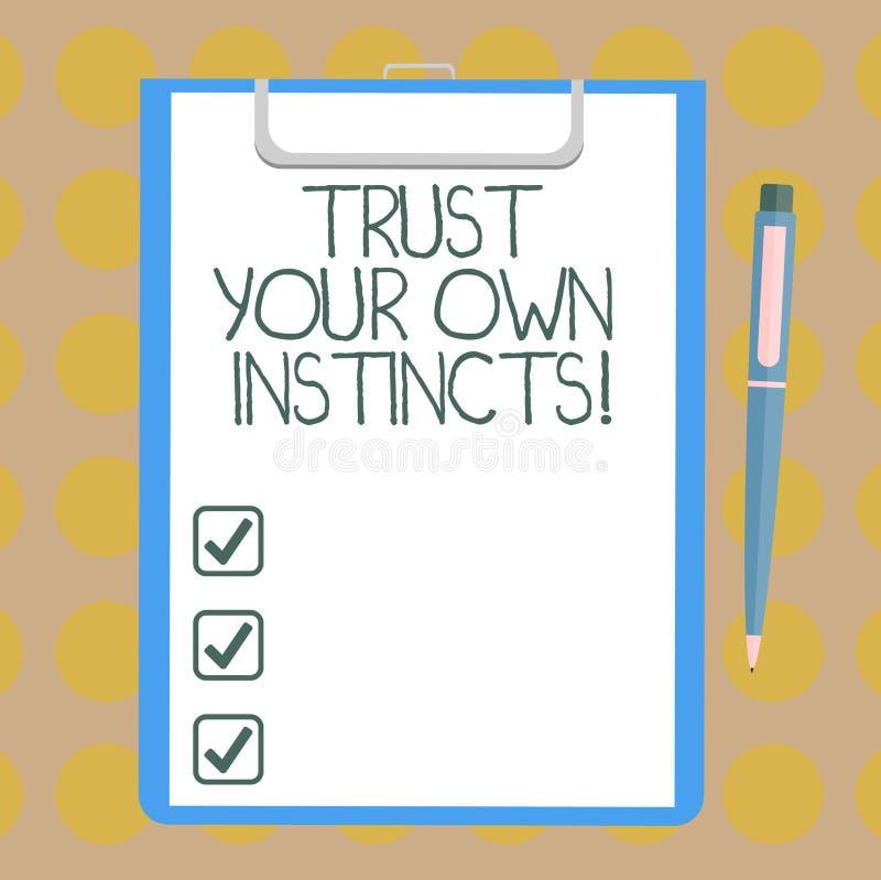 Le texte d'écriture de Word font confiance à vos propres instincts Le concept d'affaires pour intuitif suivent la confiance demon illustration stock