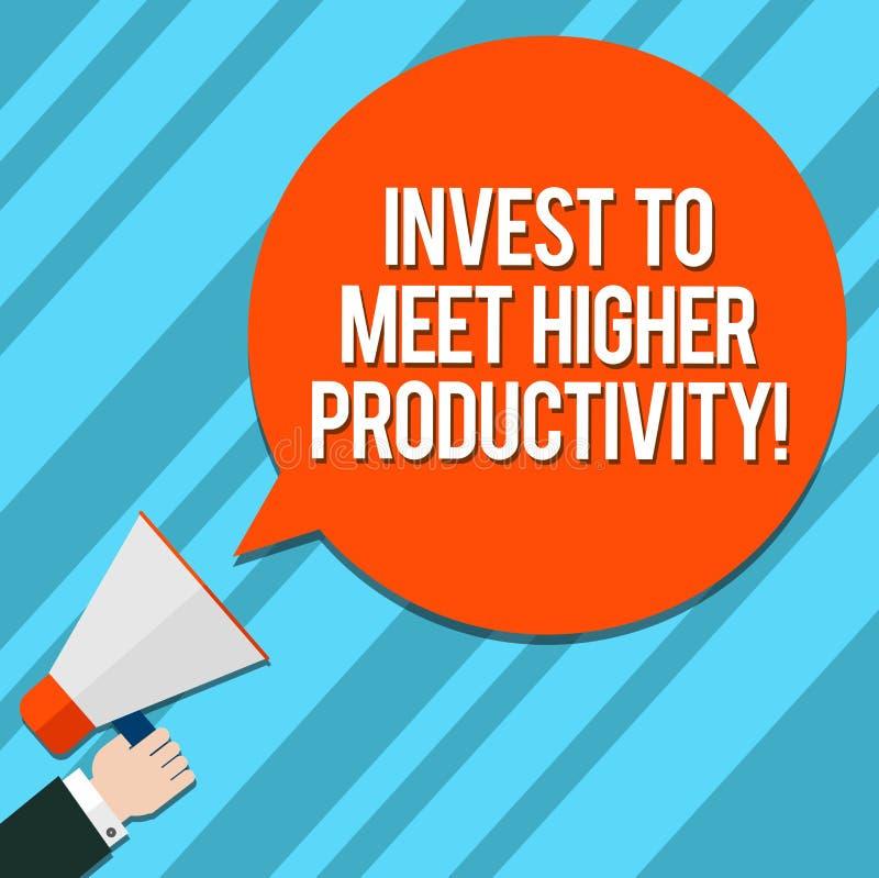 Le texte d'écriture de Word investissent pour rencontrer une productivité plus élevée Concept d'affaires pour des investissements illustration de vecteur