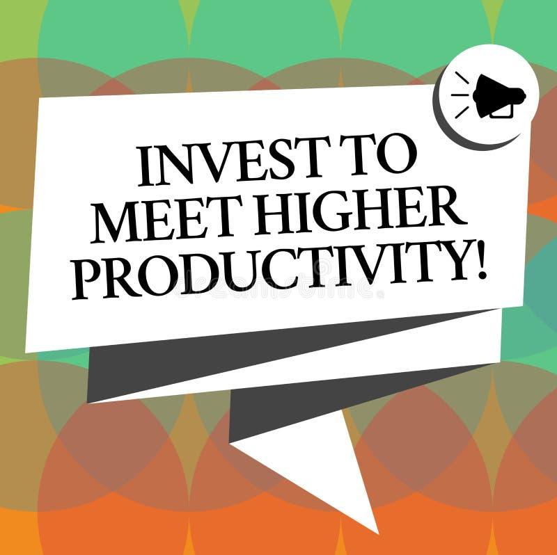 Le texte d'écriture de Word investissent pour rencontrer une productivité plus élevée Concept d'affaires pour des investissements illustration libre de droits