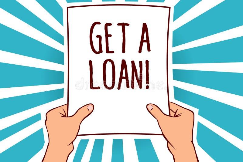 Le texte d'écriture de Word obtiennent un prêt Le concept d'affaires pour le bâti de l'argent qui est emprunté souvent à la banqu illustration stock