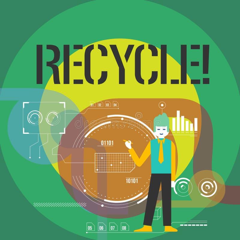 Le texte d'écriture de Word réutilisent Concept d'affaires pour convertir des déchets en matériel réutilisable illustration libre de droits