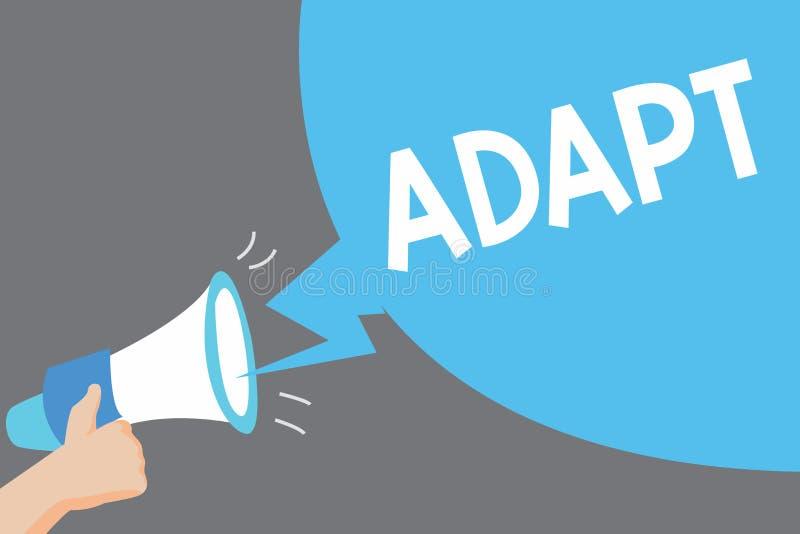 Le texte d'écriture de Word s'adaptent Le concept d'affaires pour Make appropriée à une nouvelle utilisation ou but s'est ajusté  illustration stock