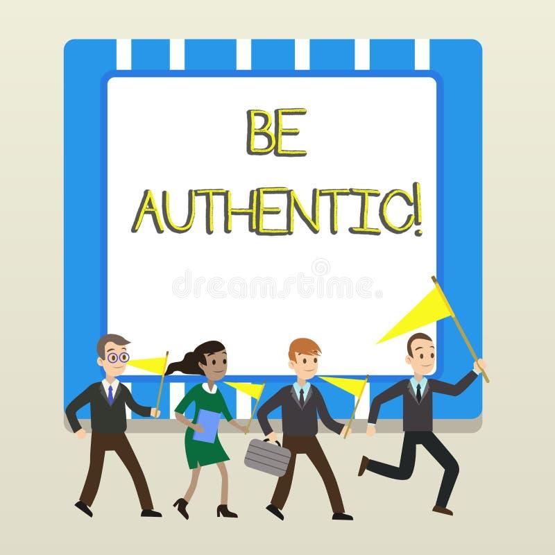 Le texte d'?criture de Word soit authentique Le concept d'affaires pour font quelque chose qui prend le courage et rester vrai vo illustration stock