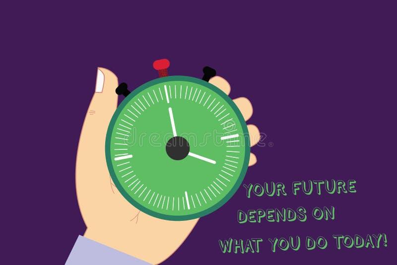Le texte d'écriture de Word votre avenir dépend de ce que vous faites aujourd'hui Concept d'affaires pour Make l'analyse de HU de illustration libre de droits