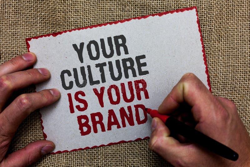 Le texte d'écriture de Word votre culture est votre marque Le concept d'affaires pour des expériences de la connaissance sont une images stock