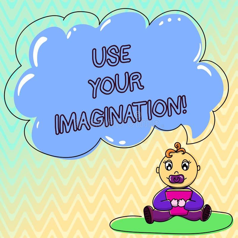 Le texte d'écriture emploient votre imagination Signification de concept utilisant la capacité de former les images mentales du b illustration de vecteur